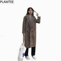 PLAMTEE Fashion Women's Winter Coat 2017 Double Breasted Long Female Coats Korean Style Plaid Long Jackets Office Outwears New