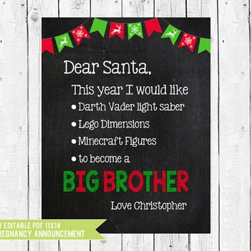 Christmas Pregnancy Announcement, Santa Letter Big Brother, Big Brother photo prop, Christmas pregnancy sign, PDF you edit in ADOBE READER