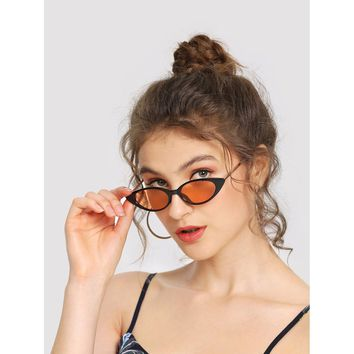 Cat Eye Metal Temple Sunglasses