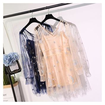 Fitaylor 2018 Summer Mesh Embroidery Sequined Sexy & Club Evening Party Dresses Women Elegant Harajuku Crochet Lace Dress