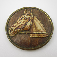 Vintage Horse Brooch Wood Metal Mixed Media Antique Jewelry C Clasp Equestrian Gift Horse Jewelry
