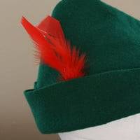 3 Peter Pan Robin Hood Prince Charming Hats - Kelly Green RED FEATHER Christmas in July SALE