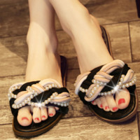 New summer low heel lady pearl style slippers