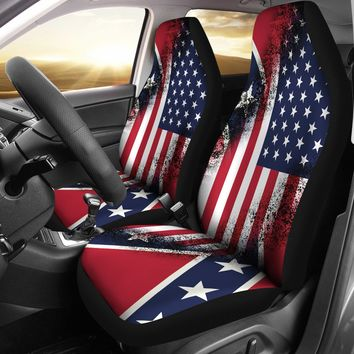 Confederate to American Flag Design Seat Covers
