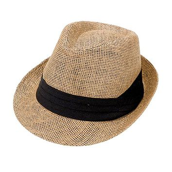 Beatnix Fashions Brown with Black Trim Straw Fedora Hat
