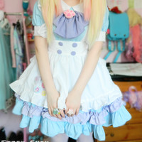 Custom Lolita Princess Maid Dress With Paw Brooch and Black KC SP140839