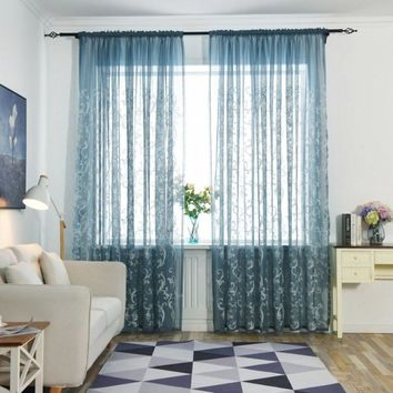 Modern Tulle Curtains Window Curtains Fabric Blinds Drapes Living Room Bedroom Floral Sheer Tulle