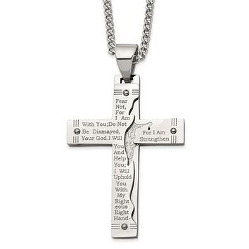 "Stainless Steel Polished Etched Isaiah 41:10 Prayer Cross 24"" Necklace"