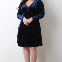 Plus Size Velvet Surplice Skater Dress