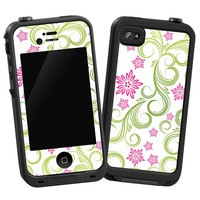 "Pink Floral and Green Swirls ""Protective Decal Skin"" for LifeProof iPhone 4/4s Case"