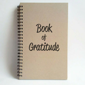 Book of Gratitude, 5x8 writing journal, custom spiral notebook, personalized brown kraft memory book, small sketchbook, grateful journal