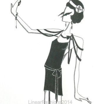 Flapper illustration / 1920s Art Deco decor / original pencil drawing / gift