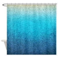 Sea Glass Mosaic fabric Shower curtain -  Teal, Aqua, blue, ocean, waves, island, travel, cruise, sea, art, coastal decor, bath, home