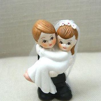 Bride and Groom Cake Topper Crossing Threshold Light Brown Hair with Veil Vintage