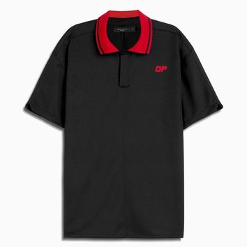 dp rugby polo / black + red