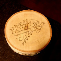 Game of Thrones Inspired House Stark Direwolf Birch Round - Wood Burned - Home Decor - Natural Wood