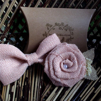 Peach burlap bow tie | Peach boutonniere | Bow tie and boutonniere set | burlap rose | rustic wedding | rustic boutonniere | rustic bow tie