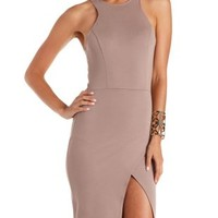 Taupe Racer Front Asymmetrical Dress by Charlotte Russe