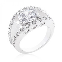 Clear Split Band Engagement Ring