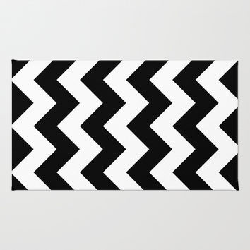 Black and White Chevron Area & Throw Rug by KCavender Designs