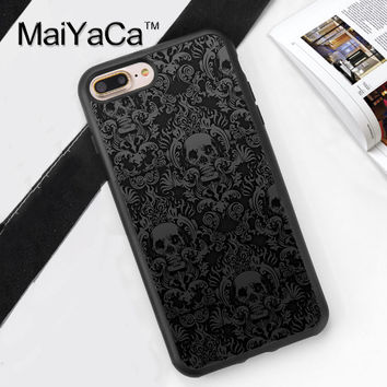 Gothic Skull Alternative Scroll Printed Soft Rubber Cover for iPhone 7 7Plus 6 6S Plus 5 5S 5C SE 4S Hard Plastic Phone Cases