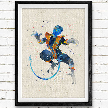 X-Men Beast Watercolor Print, Marvel Superhero Poster, Kids Room Wall Art, Home Decor, Not Framed, Buy 2 Get 1 Free!