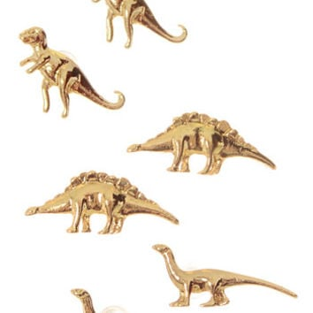 Dainty Little Dinosaurs Earring Set in Gold - PLASTICLAND