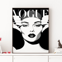 Dorm room Vintage Vogue poster Vogue Cover Vogue Print Gift For her Mode Affiche  Poster PRINTABLE FILE - Fashion art poster Vogue Print
