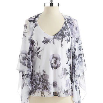Alex Evenings Two Piece Floral Shawl and Blouse Set