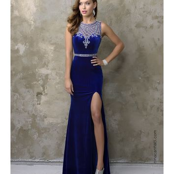 Preorder - Nina Canacci 3106 Royal Blue Sexy Velvet Long Dress 2016 Prom Dresses