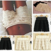 Fashion High Woman Waist Pant Skirt Multilayer Lace Hollow Out Hook Flower Crochet Hot Shorts = 5660110081