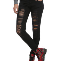 ChiQle Black Distressed Super Skinny Jeans