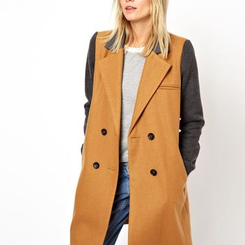 ASOS Contrast Sleeve Double Breasted Coat
