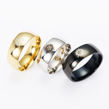 Hot Sales Silver Black Gold Dome Supernatural jewelry Men titanium steel ring Wedding Sun evil power Rings