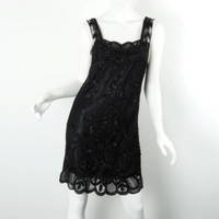 Ralph Lauren RRL NWT Black Lace Beaded Sleeveless Slip Dress Size 2 RP $895