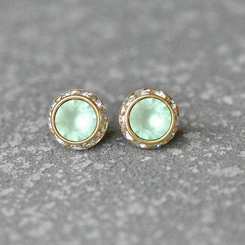 Mint Green Swarovski Crystal Stud Earrings