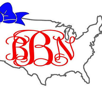 Merica United States of America Monogram Bow Decal