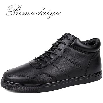 Men's Casual Warm Shoes Genuine Leather Single Lace-Up Ankle boots Classic Black Flat Winter Boots