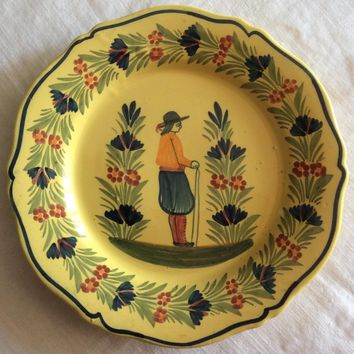 French Quimper plate with scalloped edges