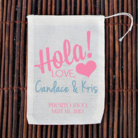 Hola Personalized Welcome Bag- Muslin Cotton Mini Favor Bags