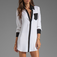 Alice + Olivia Cami Tunic Blouse in White/Black from REVOLVEclothing.com