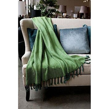 Ben and Jonah Sophia Throw Blanket With Fringe Twists (Blue/Willow)