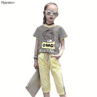 Casual Girls Stripe T shirts+Pants 2pcs Suits Summer Children Clothes Sets Girls Sports Suits Kids Tracksuits for 6 8 10 Years