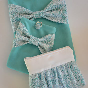 Macbook Pro 15 Sleeve Laptop Case & iPad Mini Sleeve and Zippered Accessory Pouch in Tiffany Blue with Lace Bow