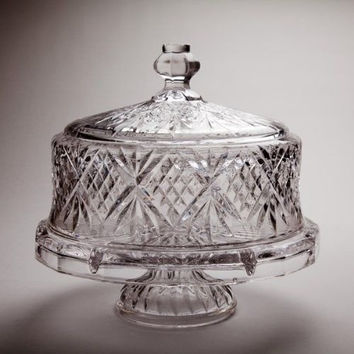 Clear Footed NEW Cake Saver Plate Stand Vintage Glass Pedestal Dome Covered Lid