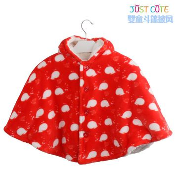 Double Layer Flannel Autumn And Winter Baby Cloak Children Outerwear Baby Clothing With Hooded Free Shipping