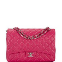 Madison Avenue Couture Chanel Fuchsia Pink Quilted Lambskin Maxi