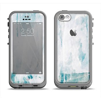 The Teal and White WaterColor Panel Apple iPhone 5c LifeProof Fre Case Skin Set