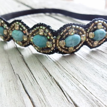Stone beaded headband, boho headband, Turquoise stone beaded hair band, elastic headband non slip head piece, bridal headband