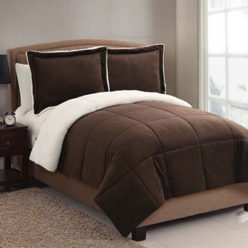 VCNY Solid Micro Mink Sherpa Bedding Comforter Set, Chocolate, Queen